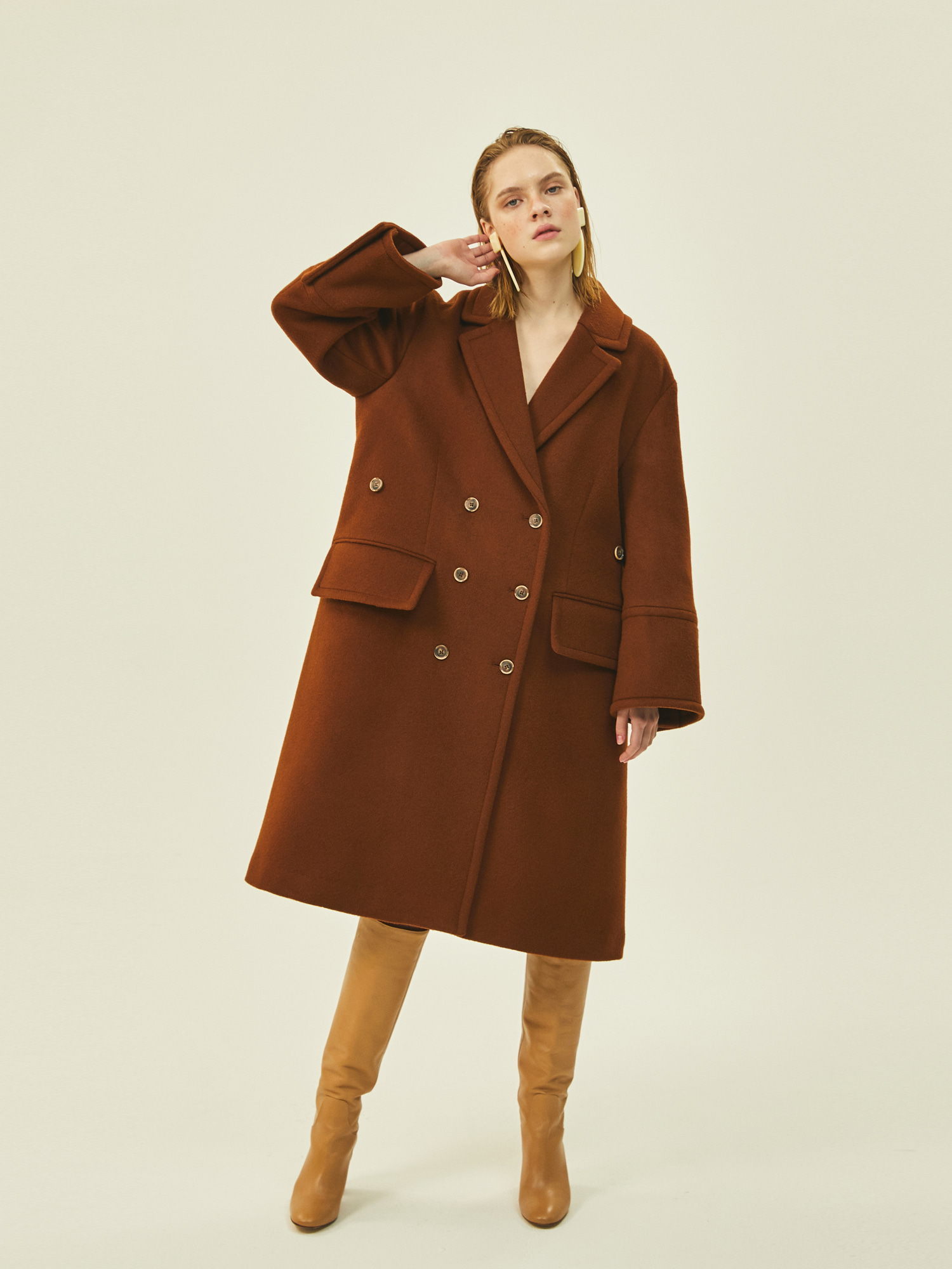 Wide Wool Double Coat in Brown