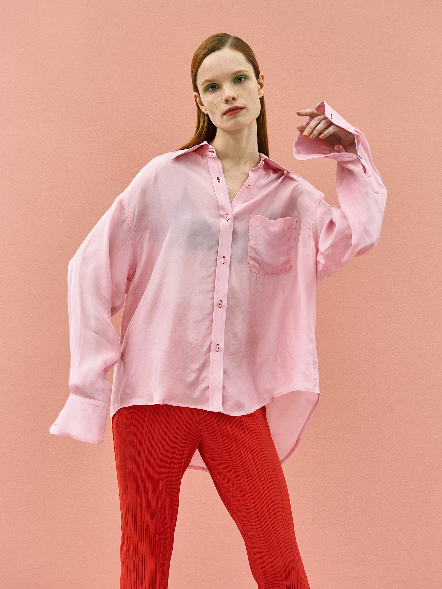 [SUMMER BIG SALE]Shining Color Shirt in Pink