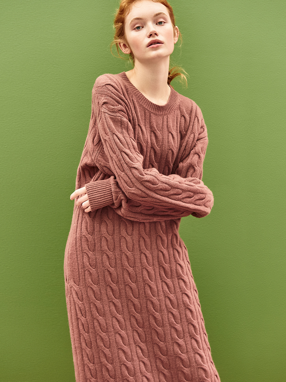 [50%OFF]Cable Knit Maxi Dress in Red Bean