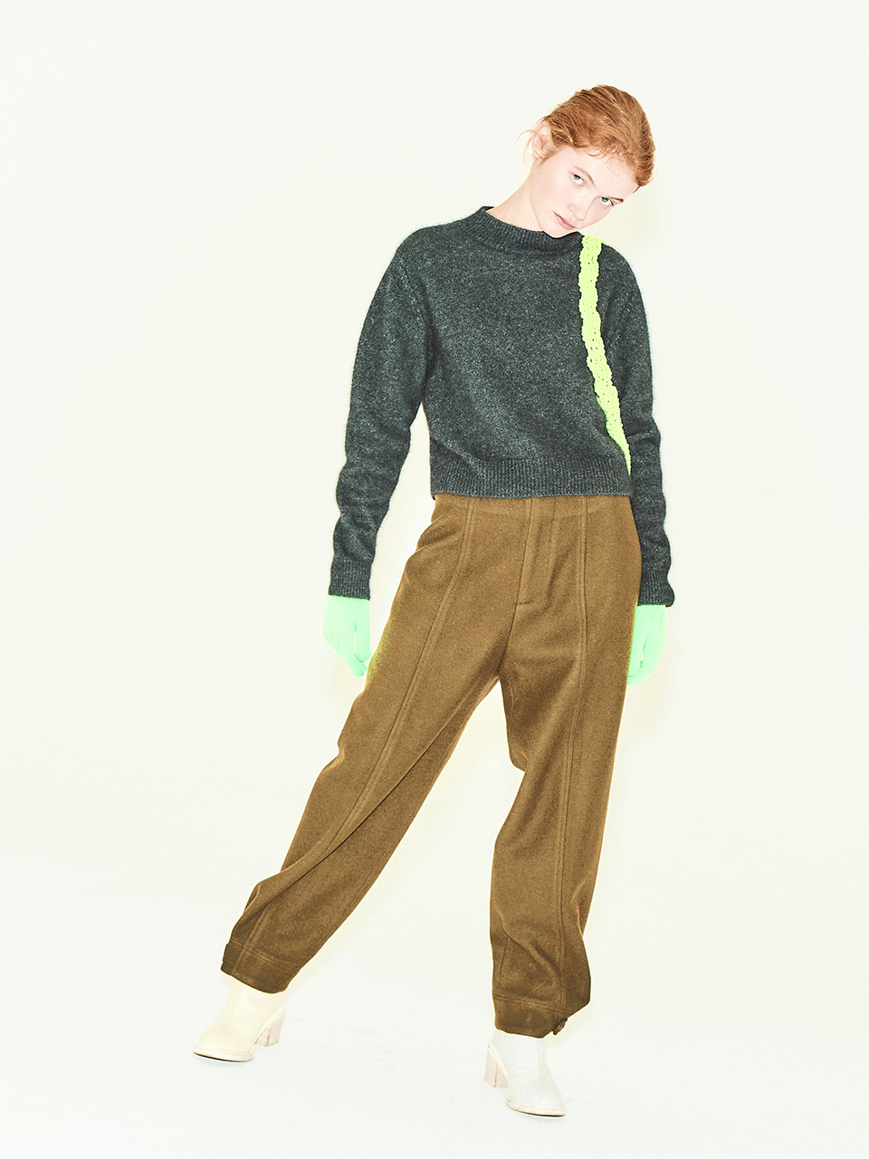 [40%OFF]Wool Tab Button Pant in Khaki Brown