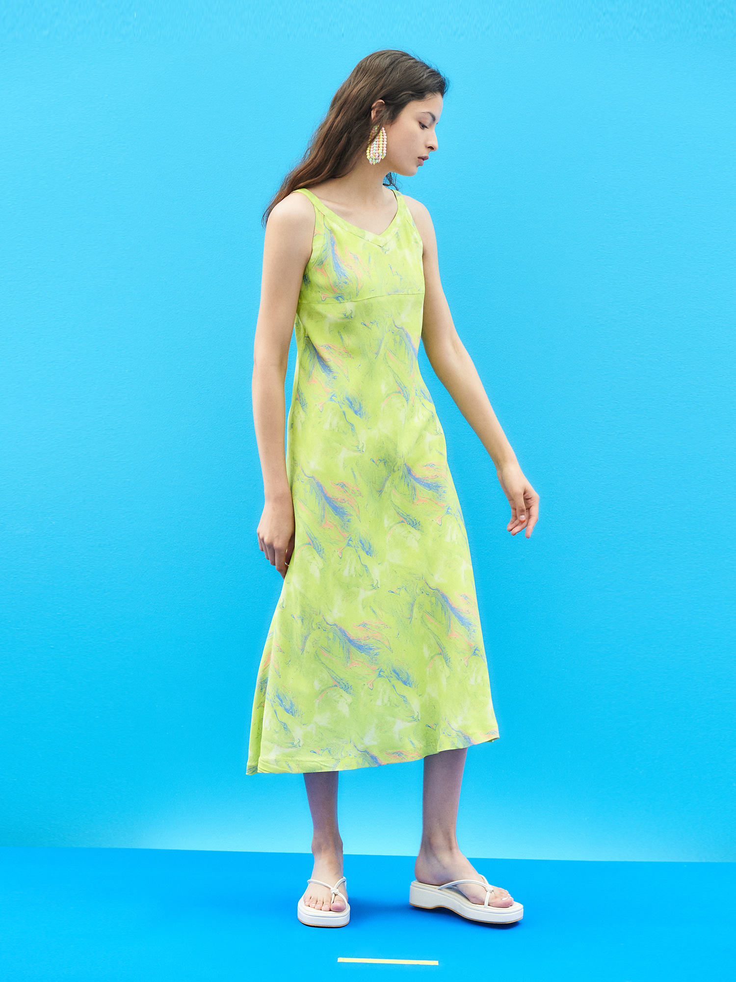 [SUMMER BIG SALE]Marbling Sleeveless Dress in Lime